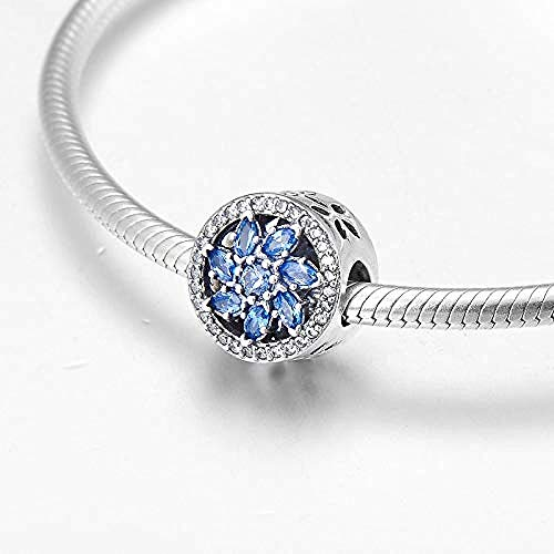 Zilveren bedels met kraaltjes, 925 sterling zilver Hol Prachtige bloem blauw Helder Fijne armband sieraden maken Diy beste cadeau voor meisjes tieners Diy beste cadeau voor meisjes tieners