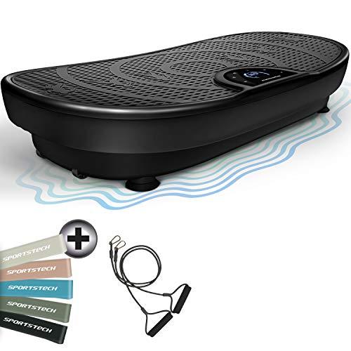 Novità Fiera VP250 Pedana Vibrante Curved Slim Design elegante | Consumo grassi & Formazione muscolare | Motore silenzioso 180 livelli | 7+1 Prgrammi di allenamento | Bluetooth (Nero)