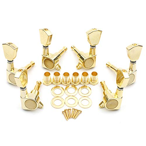 Swhmc 6pcs Gold 3L3R Chrome Tuning Key Peg, Guitar Parts 3 Left 3 Right Tuners, Guitar String Tuning Pegs Machine Head Tuners for Acoustic or Electric Guitar
