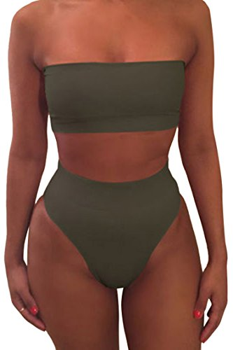 Pink Queen Women's Remove Strap Pad High Waist Bikini Set Swimsuit Green, X-Large