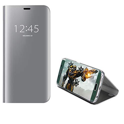 COOVY Custodia per Samsung Galaxy S7 SM-G930F SM-G930 Metallizzata, Finestra a Specchio Trasparente, Foro e funzionalità di Posizionamento Verticale | Colore Argento