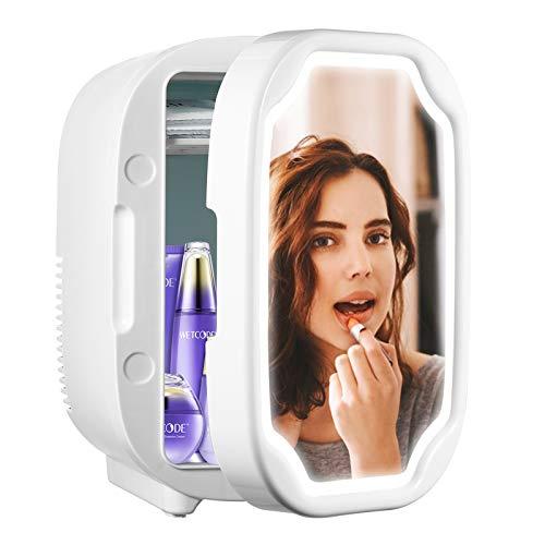 Mini Frigo de Chambre 6L avec Miroir à Maquillage LED, 12V / 220V Mini Réfrigérateur Silencieux,...