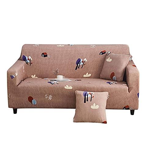 Fundas de sofá Funda de sofá con Estampado, Funda de sofá elástica para 2 Cojines, Protector de Muebles de sofá con Fondo elástico, Funda de sofá Antideslizante con 1 Funda de almo