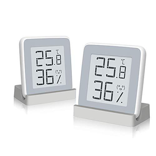 Homidy 温度計 デジタル湿度計 室内 高精度±0.3℃ E-Ink大画面 見やすい 顔文字でお知らせ 置き・掛け・貼り三用(二パック)