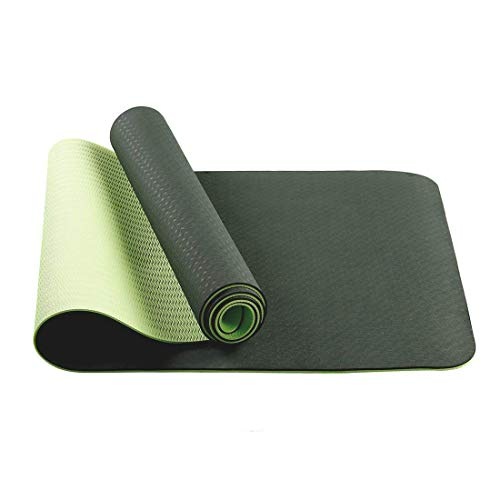 The Best Yoga Mat Exercise Mat - Non Slip TravelYoga Mats With Carrying Strap 1/4 Yoga mats Workout Mat ExtraThick Long Workout Mat Anti-tear Hot Pilates Fitness Yoga Mat in Home & Gym (Black Green)
