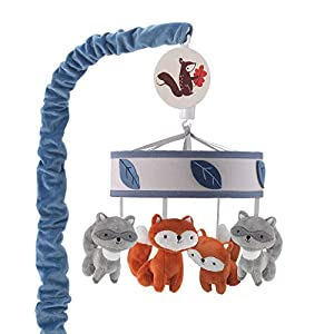 Lambs & Ivy Little Campers Musical Baby Crib Mobile – Blue, White, Animals