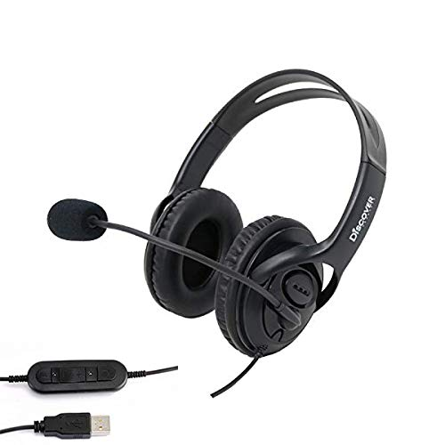 Discover D722U Noise Cancelling USB Wired Headset for Computer Softphone Applications Like Ringcentral, Nextiva, 8x8, Jive, Vonage, Cisco, Avaya, Skype, Zoom and More- 3 Year Warranty