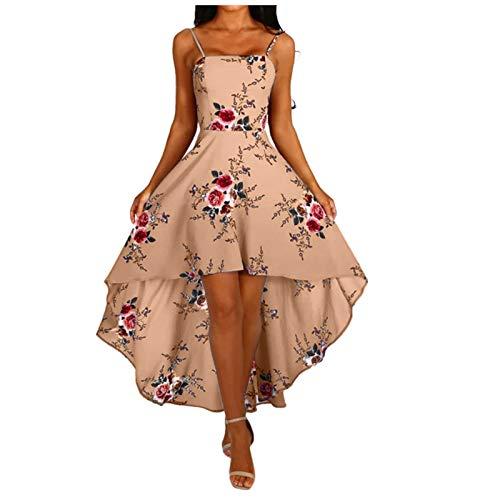 L9WEI Sommerkleid Damen Blumen Partykleider Vorne Kurz Hinten Lang Sommer Elegant Kleid Frauen Rückenfrei Kleider Sommerkleider Lose Freizeitkleider Mode Streetwear