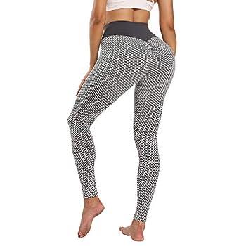 PIZOFF Butt Lifting Leggings Textured Leggings for Women High Waist Tummy Control Workout Leggings Scrunch Butt Leggings Yoga Pants AM240-Grey-S