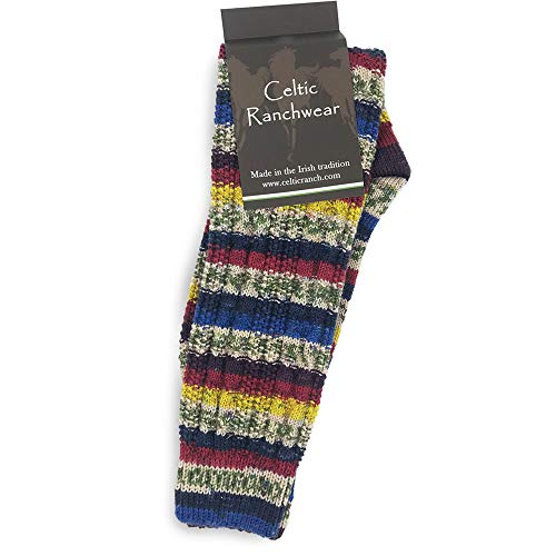 Fair Isle Irish Wool Socks for Women, Colorful Knee-High Socks, Made in Ireland (Large, No. 4 Crayola Mix)