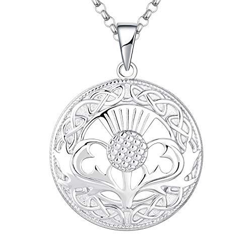 JO WISDOM Damen Halskette Schottische Distel Silber 925,Kette Anhänger Unendlichkeit Knoten Schottland Blume Outlander Schmuck