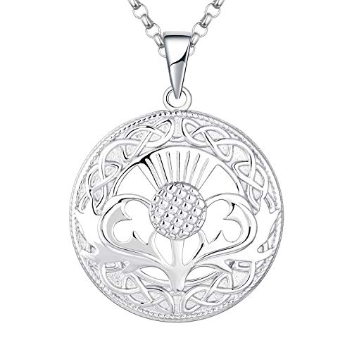 JO WISDOM Women Scottish Thistle Necklace,925 Sterling Silver Infinity Knot Schotland Bloem Outlander Hanger Ketting