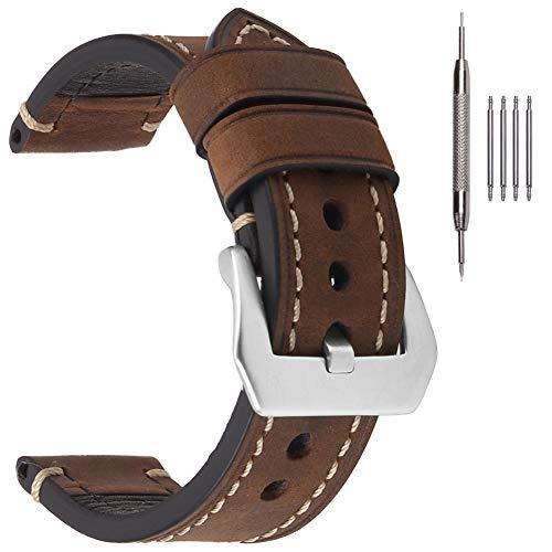 EACHE Hommes 20mm Bracelets De Montre en Cuir Crazy Horse Épais Bracelets De Montre en Cuir Véritable Marron Foncé avec Boucle Silve