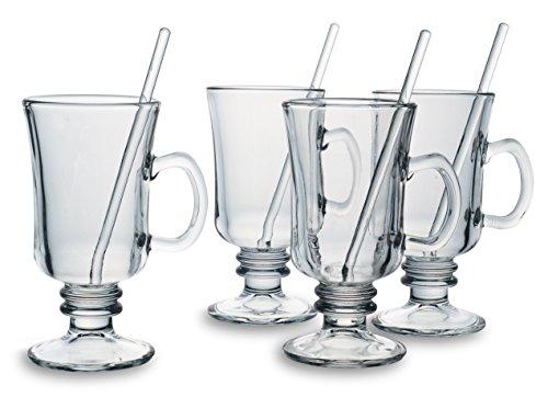 Bohemia Cristal 093 006 140 Grogglazen, ca. 200 ml met roerstaafjes van kalk-natronglas, 4-delige set