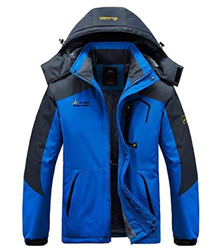NANXCYR Vestes de Ski imperméable Homme Chaud Raincoat Manteau de Neige en Plein air Veste en Coton Coupe-Vent Leisurewear Sport Épaississement Parka Mountaineer d'hiver,Bleu,XL