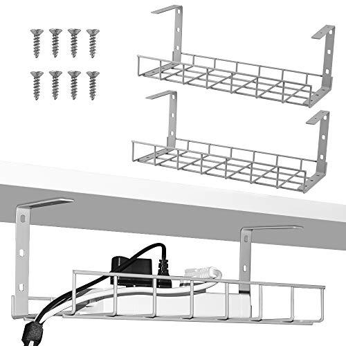 Kabel-Management-Ablage, 40 cm, Kabel-Organizer für Kabel-Management, Metall-Kabelablage für Schreibtische, Büros und Küche (grau)