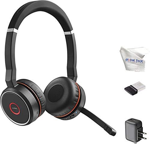 Jabra Evolve 75 Bluetooth Headset Bundle w/Bonus Wall Charger, USB Dongle 7599-832-109-B | PC/MAC Compatible for Dragon, Softphones, Smartphones, Tablet, PC, Microsoft Certified, Skype, Cisco, Avaya