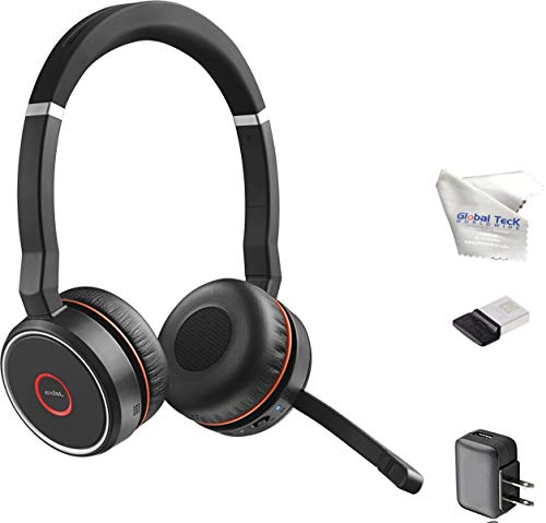 Jabra Evolve 75 Bluetooth Headset Bundle w/Bonus Wall Charger, USB Dongle 7599-832-109-B | PC/MAC...