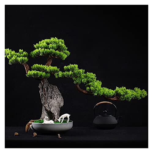 SHUTING2020 Artificial Bonsai 21 Pulgadas Bonsai Artificial de Acogedor, Faux Cypress Bonsai, Utilizado para la decoración de Micro paisajes en la Oficina de Entrada Plantas Macetas Decoración