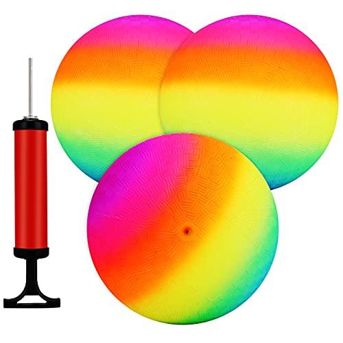 Rainbow Playground Balls -9 Zoll (3er Pack) Aufblasbare Gummibälle für Kinder und Erwachsene, Spiele im Innen- und Außenbereich, Kickballs, Völkerball, Four Square, Dodge Ball, Handball