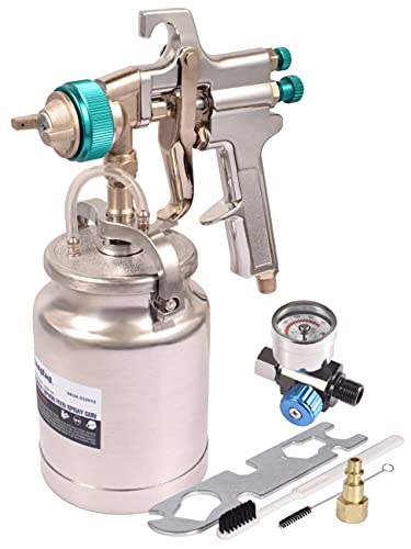 Dynastus Suction Feed 33 oz Siphon Air Spray Gun Pneumatic Paint Sprayer,1.8mm Nozzle with Air Regulator and cleaning kits