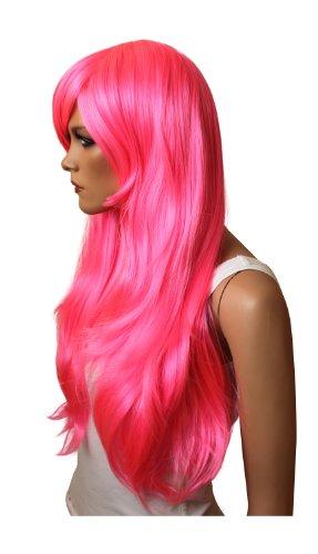 Fasching Karneval Perücke Wig Cosplay rosa pink rot schwarz blond weiß gelb orange weiß & co div.Farbe (pink)