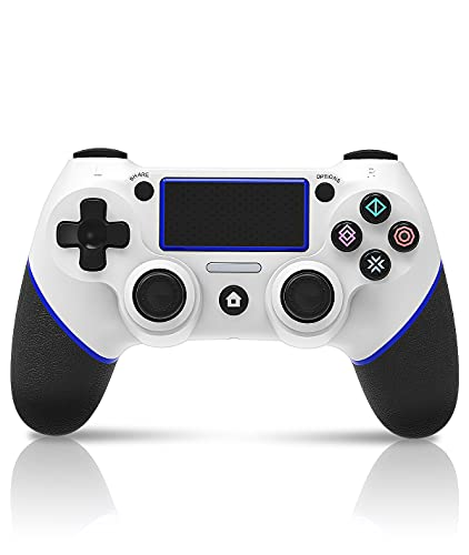 PS4 コントローラー プレステ4 コントローラー - ワイヤレス 最新バージョン対応 リンク遅延なし Bluetooth接続 二重振動 ジャイロセンサー機能 600mAh ヘッドフォンジャック 高耐久ボタン プレステ4 コントローラー PS3/PC対応 日本語取扱説明書(ホワイト&ブルー)