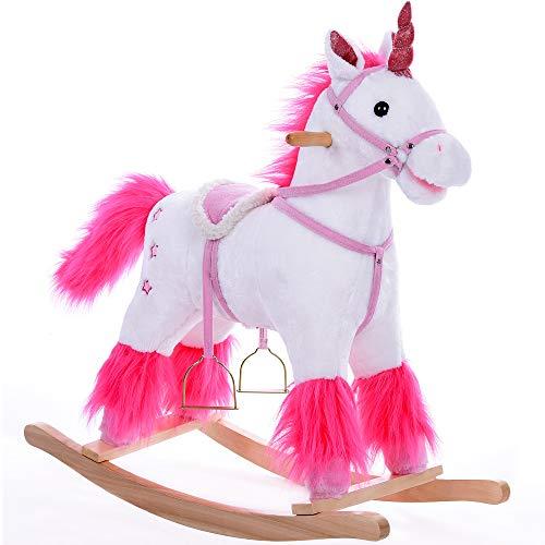 Deuba Unicorno Bianco di Peluche a Dondolo Animale cavalcabile Manici in Legno con Suoni Giocattolo Equilibrio Bambini