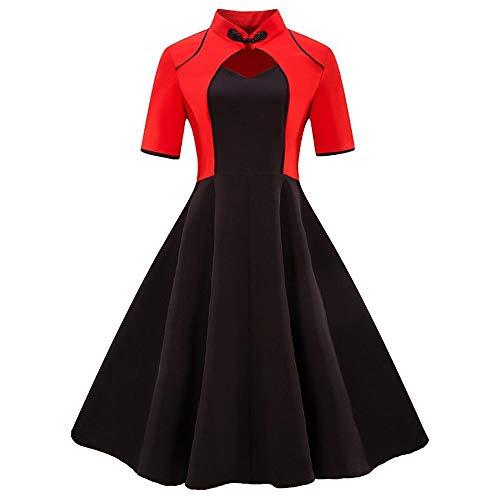Frauenkleid Kurzarm Swing Kleid Vintage Rockabilly Kleid Damen (Farbe : Schwarz, Size : XXL)