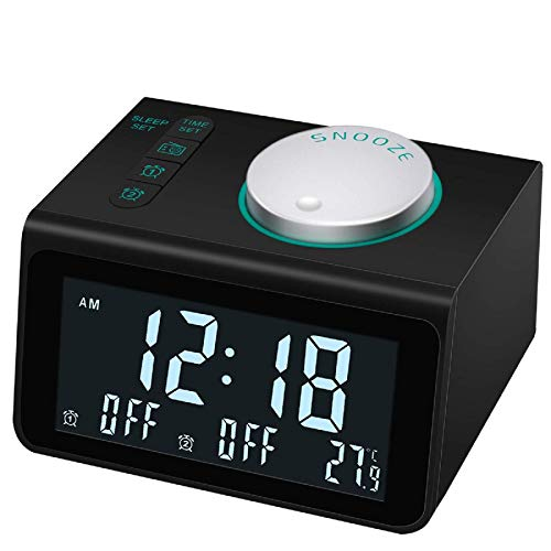【Upgraded】 Alarm Clock Radio, Digital Alarm Clock with FM Radio, Dual USB Charging Ports, Dual Alarms with 7 Alarm Sounds, Snooze, 5 Level Brightness Dimmer, Temperature Display, for Bedroom