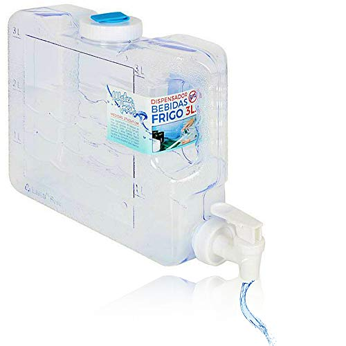 3L Depósito de agua para frigorífico, fino, dispensador refrigerador de agua, tamaño compacto para frigorífico, fuente de hielo para casa, camping, barco, vela, oficina, refrigerador de agua natural