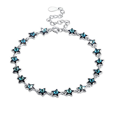 NYKKOLA Pulsera de plata de ley 925 con diseño de estrella de zafiro, para mujer