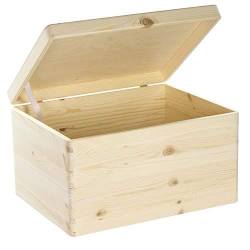LAUBLUST Große Holzkiste mit Deckel - 40x30x24cm, Natur, FSC®   Allzweck-Kiste aus Holz - Aufbewahrungskiste   Geschenk-Verpackung   Deko-Kasten zum Basteln   Spielzeug-Truhe   Erinnerungsbox