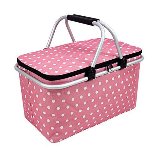 CTOBB Große isolierte Tasche, faltbar, Picknickkorb, wiederverwendbar, isoliert, Einkaufstasche, für Handtaschen, Pink
