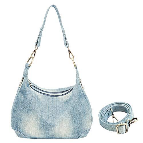 Bolso de mezclilla para mujer, estilo casual, diario, pantalones vaqueros de hombro, bolso cruzado, azul (Azul claro), Medium