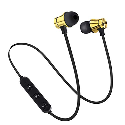 XZJJZ Auriculares deportivos inalámbricos, banda para el cuello con micrófonos no son fáciles de caer y larga duración de la batería, adecuados para correr, montar y jugar música (color dorado)