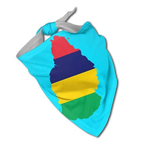 Sdltkhy Mauritius Flagge Karte Hund Halstuch Halstuch Dreieck Halstuch Lätzchen Schal Zubehör Haustier Katzen Baby Welpen Speichel Tuch