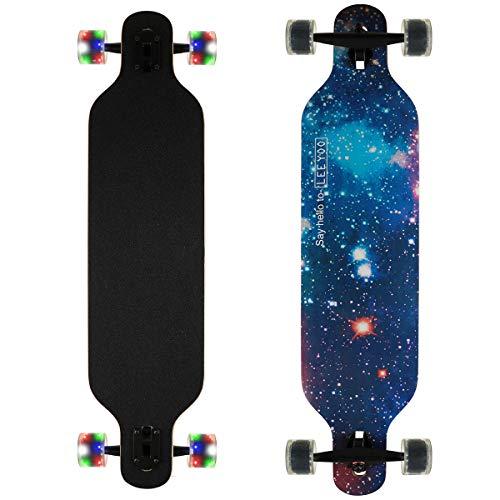 Longboard Skateboard Cruiser komplettes Board, sowie PU-Blinkräder, Ahorn Longboard Jungen und Mädchen Bürste Street Dance Board Anfänger Erwachsenen Teen Allrad-Skateboard (814 Sternenhimmel)