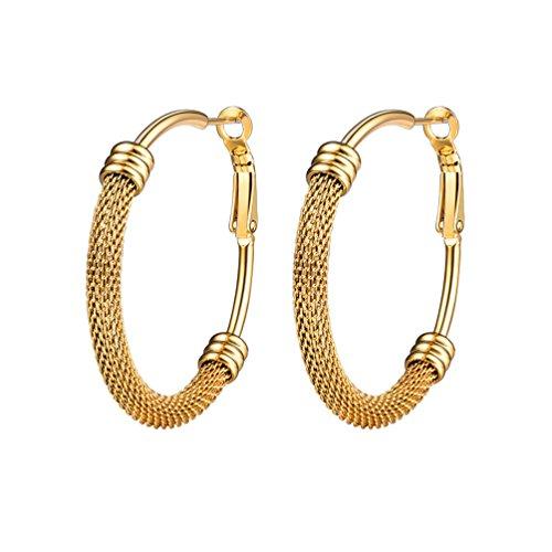 PROSTEEL Damen Creolen Ohrringe 18k vergoldet Edelstahl Huggie Kreolen Hoop Klappcreolen Ohrschmuck 40mm Geburtstagsgeschenk Valentinstag Party, gold