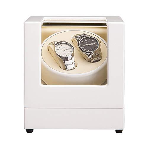 zyy Automatik Drehung Uhrenbeweger, Luxus Hölzern Aufbewahrungsboxen Zum 2 Armbanduhren Mit Ruhig Japanisch Motor (Farbe : Weiß)