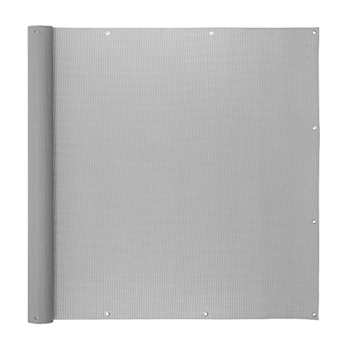 Ventanara Balkonverkleidung Sichtschutz PVC Balkonumspannung Zaun Verkleidung Blende Windschutz Folie 500 x 75 cm Grau