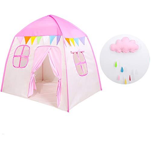 Dream Castle - Tienda de campaña para niños y bebés, para jugar en el salón, para niñas y niños, portátil, divertida casa de juegos (color: rosa, tamaño: 130 x 100 x 130 cm)