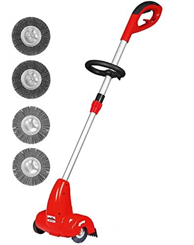 Grizzly Tools Elektrischer Fugenkratzer Unkrautbürste - Reinigung zwischen Pflaster- und Terrassensteinen - Teleskopstab - Bürstendurchmesser 10 cm - inkl. 4 Fugenbürsten-Aufsätzen