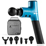 Sonic X Personal Percussion Massage Gun - Deep Tissue Massager for Muscle Pain Relief and Enhanced Recovery for Athletes - Ultra Quiet, Powerful 5 Speed High-Intensity Vibration (Blue)