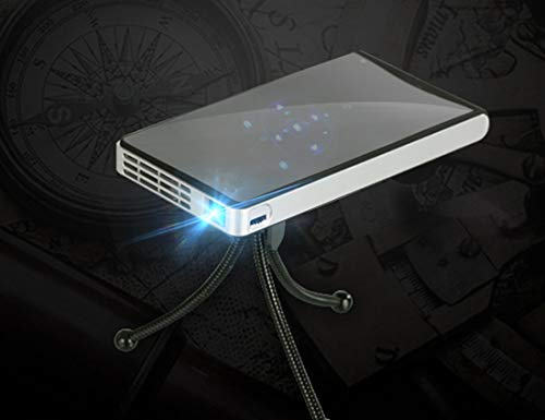 Deeirao Mini Proyector DLP Móvil Carga Banco de Poder WiFi Luz LED USB TF Tarjeta con Mini Trípode Negro