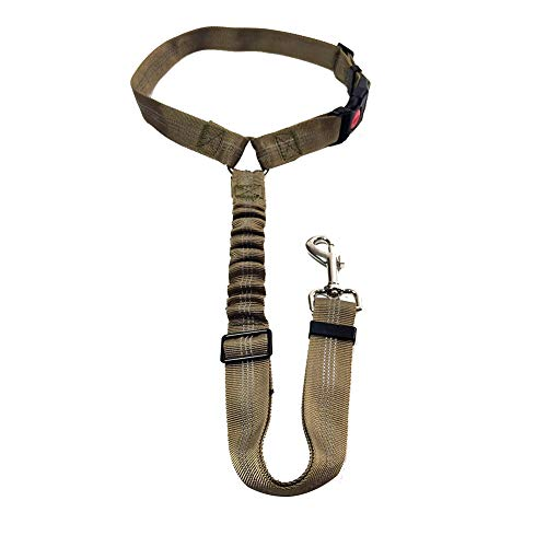 Pet supplies|Pet leash,Pet car safety rope ring buffer seat belt dog seat belt fixed car rope|adjustable dog seat belt seat belt collar|car harness with reflective stripes to connect the dog(Khaki)L