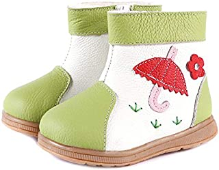 SandQ baby Green & White Fur Lined Leather Boots