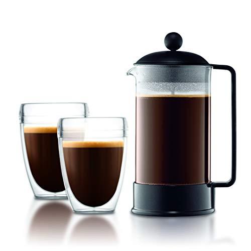 Bodum K1548-01TR-10 Brazil Set 2 Becher PAVINA Outdoor, 0,35 l + Kaffeebereiter aus Kunststoff, 8 Tassen, 1 l, Schwarz