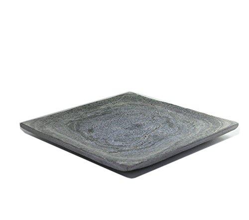 Kaheku Schale Sasso Kerzenteller Servierplatte Seifenteller grau Schiefer 20 x 20 x 0,7 cm