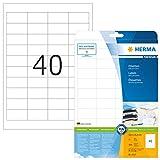 HERMA 4357 Universal Etiketten DIN A4 klein (48,5 x 25,4 mm, 25 Blatt, Papier, matt) selbstklebend, bedruckbar, permanent haftende Adressaufkleber, 1.000 Klebeetiketten, weiß